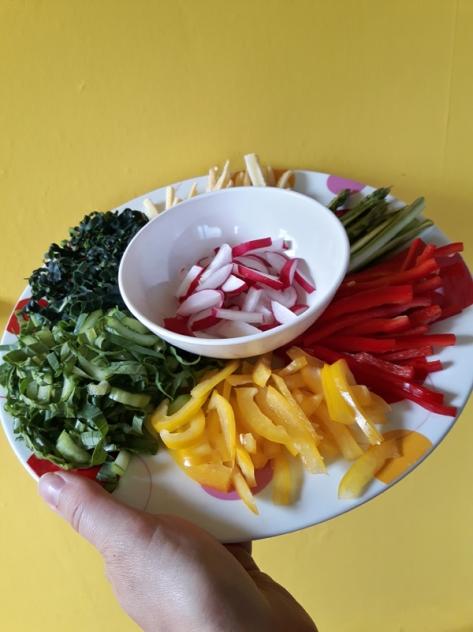 Thinly sliced vegetable platter