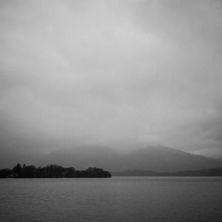 Black and white photo of Loch Lomond